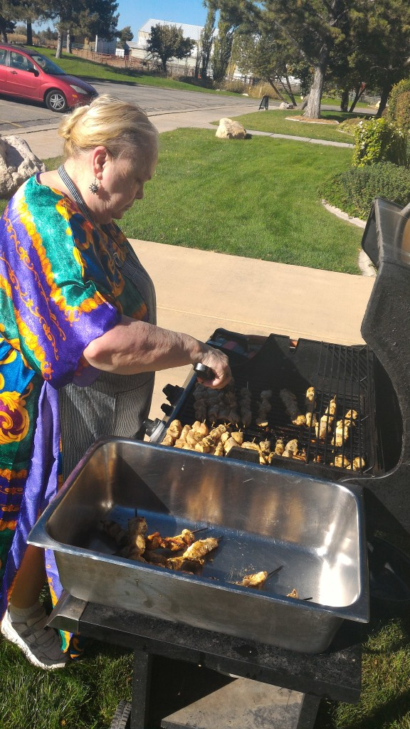 Mom grillin it up.